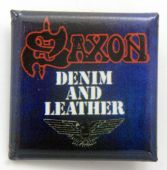 Saxon - 'Denim and Leather' Square Badge